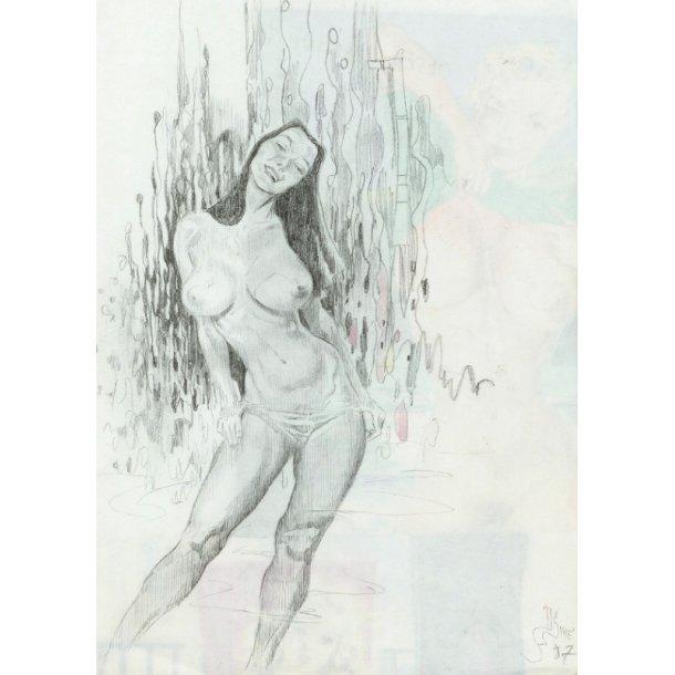 Denis Sire - Sweet Nude, blyant 1987.
