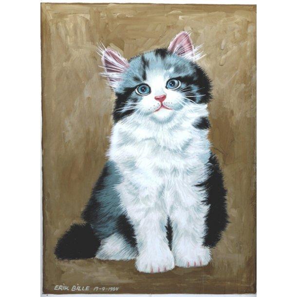 Erik Bille - Maleri af kat, 1964