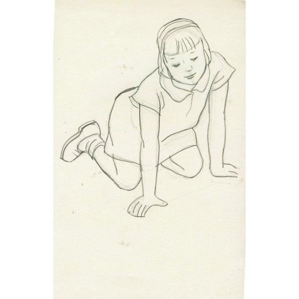 Erik Bille - Siddende pige, blyant
