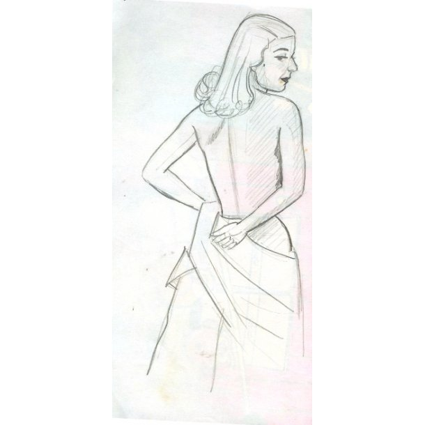 Erik Bille - Topløs kvinde, blyant