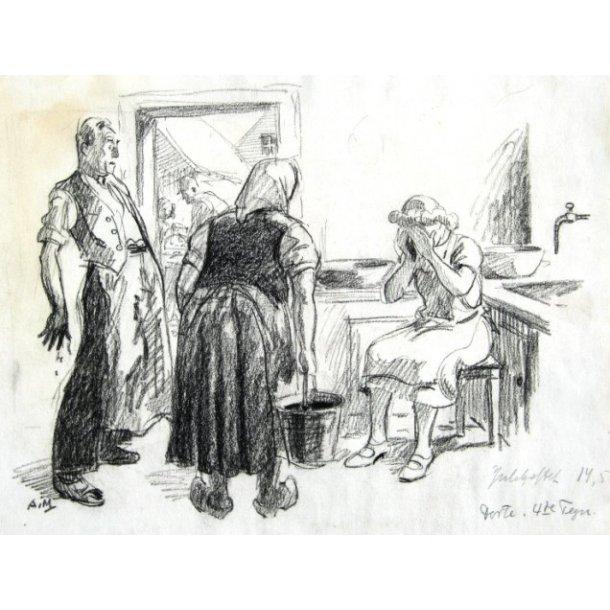 Axel Mathiesen - Julehæfte tegning