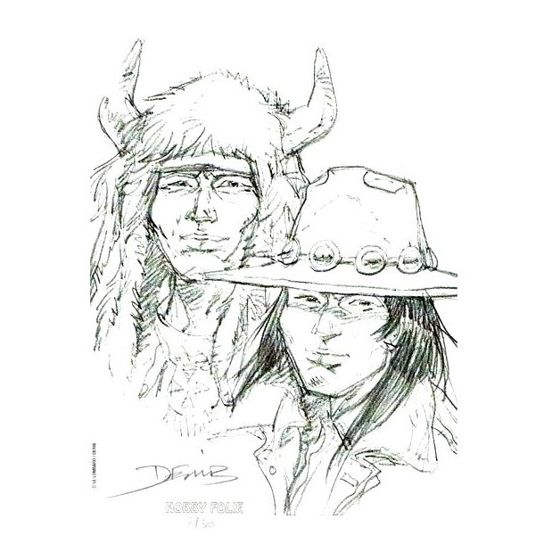 Derib - Indians, signeret