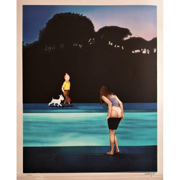 Ole Ahlberg - By the Pool II, litografi