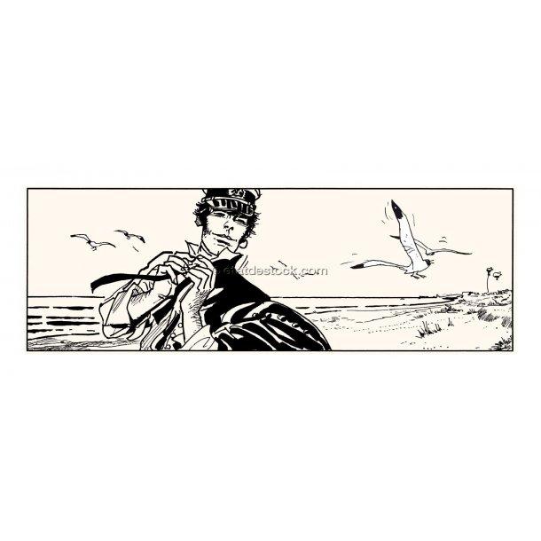 Hugo Pratt - Corto på stranden, silketryk